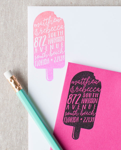 Popsicle Silhouette Address Stamp