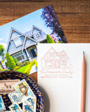Custom Illustrated Home Portrait Address Stamp