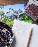hand drawn home illustration, address stamp with house portrait custom made