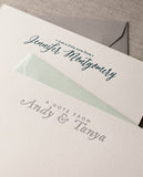 lerrerpress note cards, calligraphy letterpress stationery notecards, personalized gifts, custom names notecards, flat cards, handmade