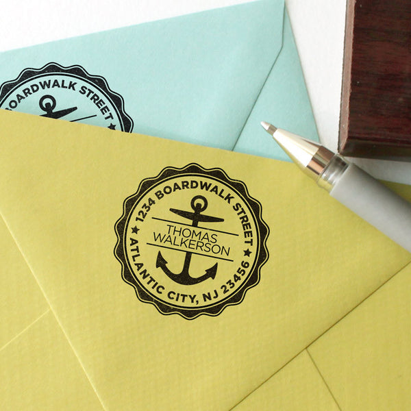 Round Address stamp with anchor design