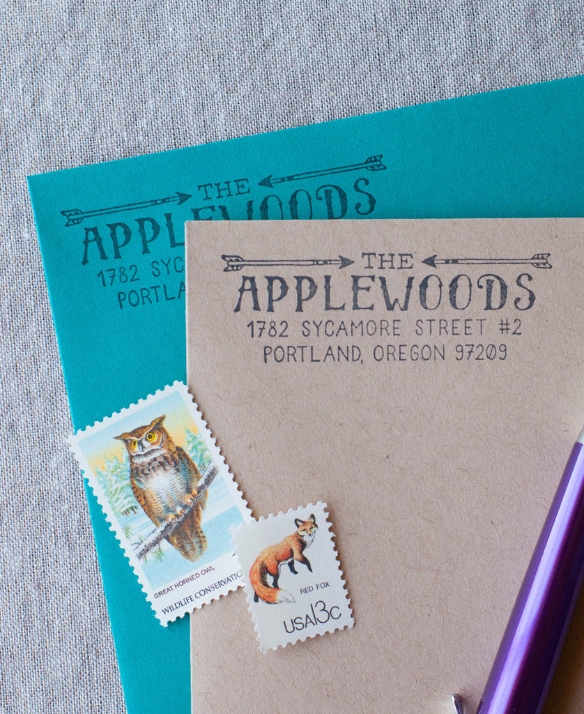 crossed arrows address stamp custom return rustic address stamper self inking or wood handle