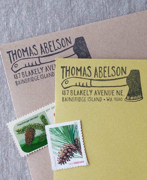 manly address stamp, lumberjack address stamp