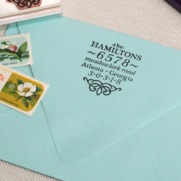 vintage inspired return address stamp for two names or one