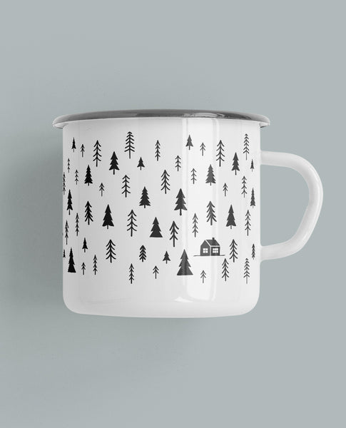 Pine Trees & Cabin Camp Mug