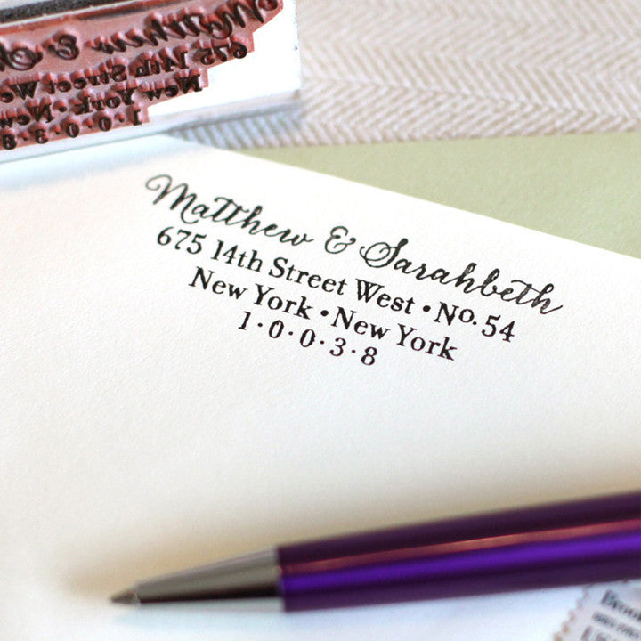 modern calligraphy address stamp by the chatty press