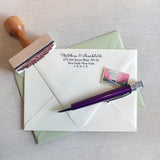calligraphy address stamp for wedding invitations by the chatty press