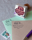 rubber address stamp featuring a vintage camper trailer