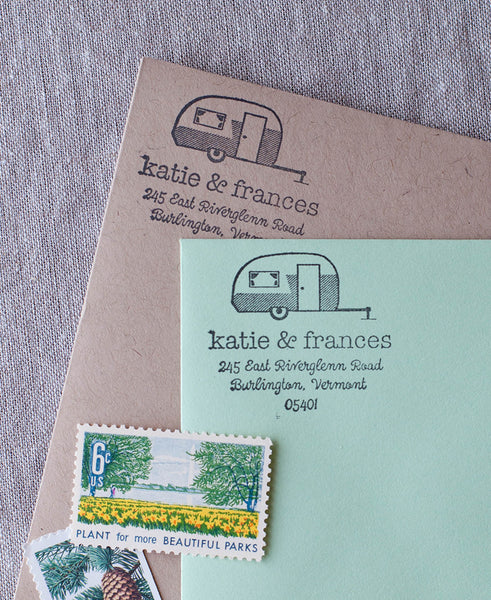 vintage camper address stamp, airstream trailer stationery and stamp