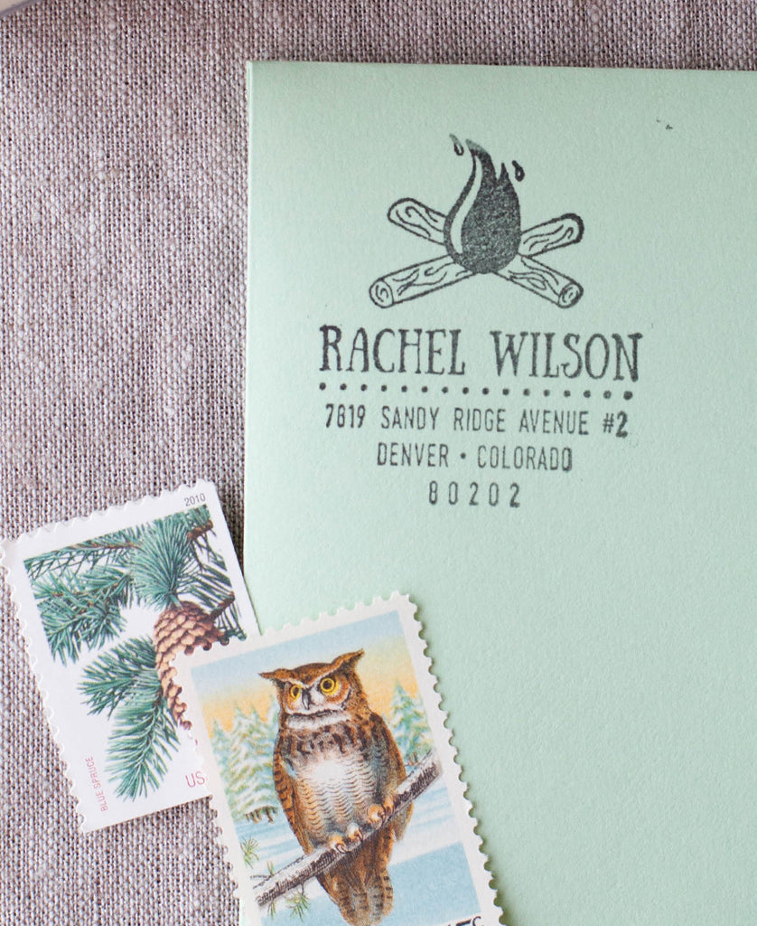 campfire address stamp, custom return address stamper