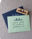 rubber stamp for lake wedding, diy wedding invitations