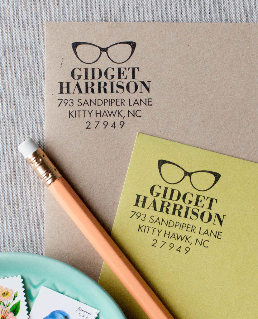Cat Eye Sunglasses Return Address Stamp