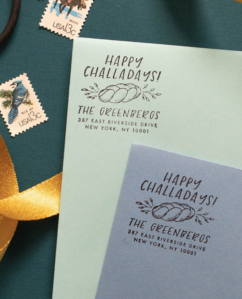 Happy Challahdays Hanukkah - Address Stamp