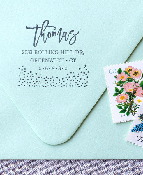bubbles, classy address stamp