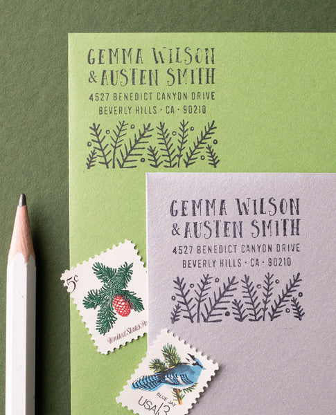 Modern Pine Address Stamp