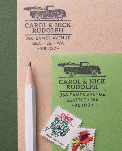 Vintage Truck Christmas Address Stamp