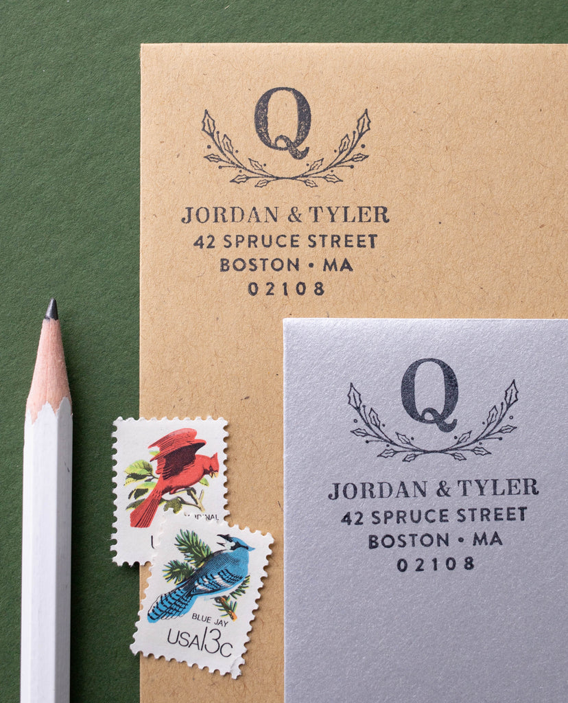 Holly Monogram Address Stamp