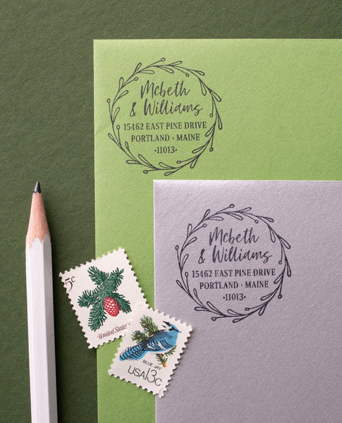 Greenery Wreath Address Stamp