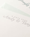 metallic silver personalized letterpress notecards