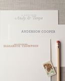 personalized letterpress note cards, copper printing for notecards