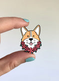 corgi summer pin, enamel pin of cute corgi with Hawaiian lei