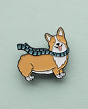 Corgi Enamel Pin - Winter Scarf