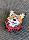 detail of corgi enamel pin brooch