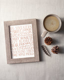 fall quotes, hand lettered art, letterpress print