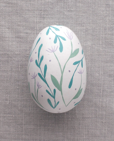 Purple Flowers - Painted Egg