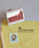 pine tree return address stamp, forest themed wedding stationery