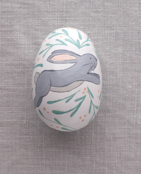 Grey Bunny - Painted Egg