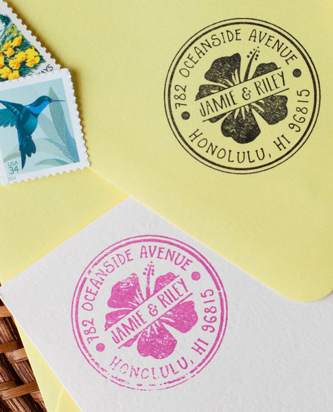 Hibiscus Flower Return Address Stamp