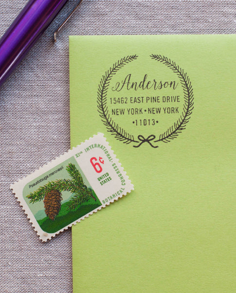 Christmas Wreath - Address Stamp