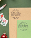 Holly Wreath Holiday Address Stamp