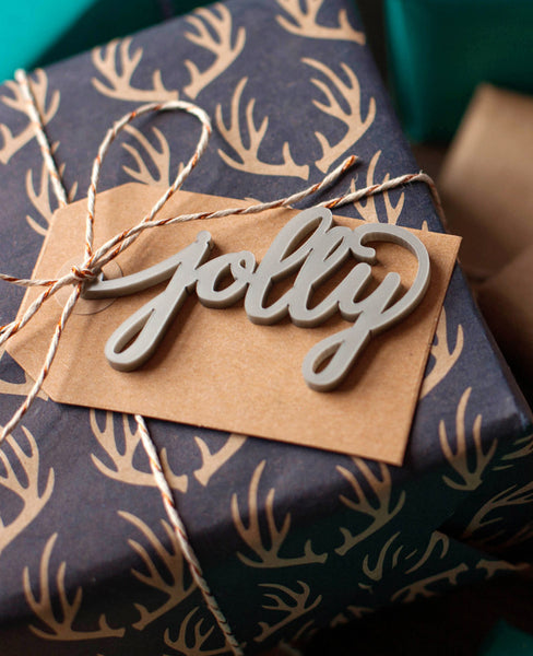 jolly christmas calligraphy gift tag made of silver acrylic