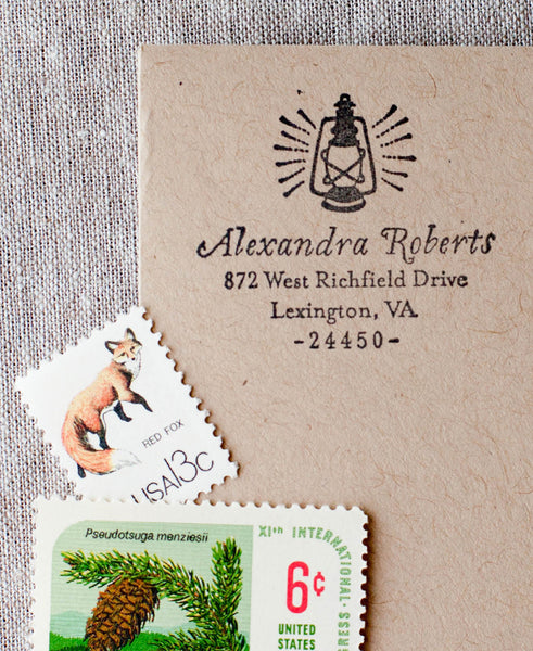 Vintage Oil Lantern Address Stamp