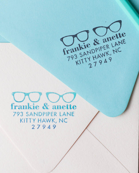 Large sunglasses address stamp