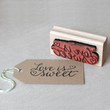 love is sweet gift tag favor rubber stamp