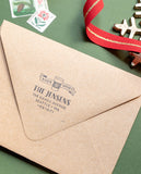 Coffee Cup Christmas Address Stamp