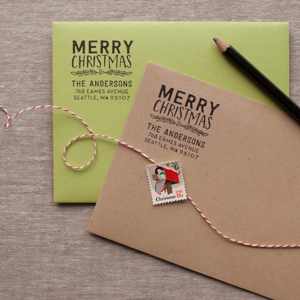 merry christmas self inking return address stamper for the holidays