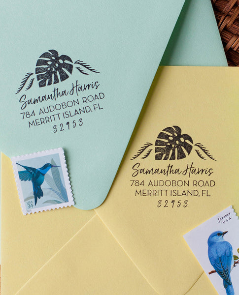 Monstera Palm Leaf Return Address Stamp