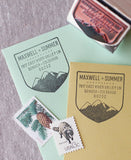 Mountain range merit badge address stamp. A rustic personalized gift for the adventurer