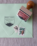 mountain range envelope stamp, rustic wedding stamps