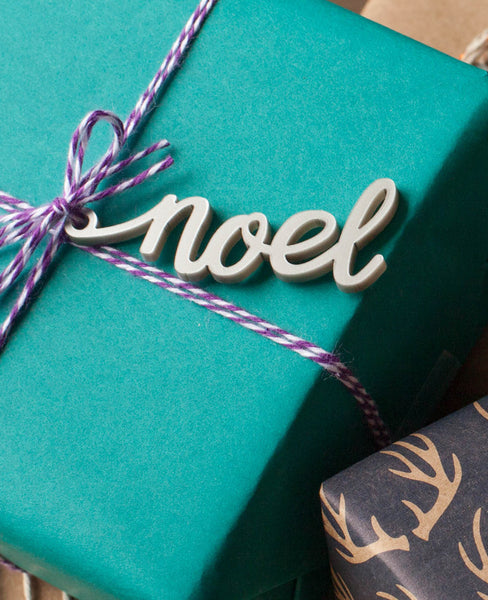 noel silver calligraphy gift tags