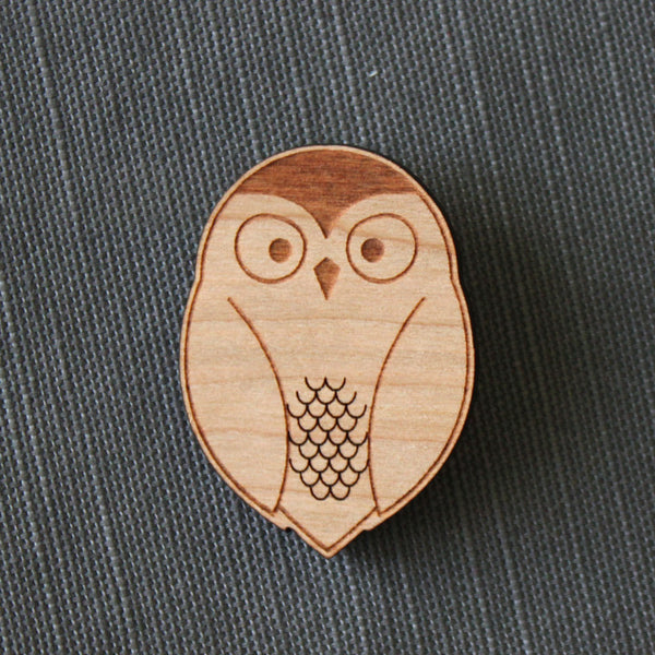 barn owl brooch, wood owl pin, stocking stuffer, coat or bag accessory for fall