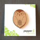 pin card for brooch from peppersprouts, owl pin and brooch handmade laser cut