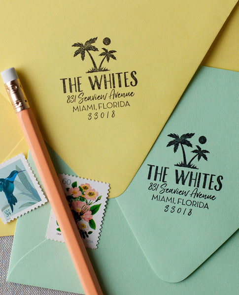 Palm tree address stamp, modern tropical beach address stamp, summer wedding rsvp stamp, summer address stamp