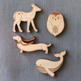 deer, dog, whale, barn owl brooch, wood owl pin, stocking stuffer, coat or bag accessory for fall