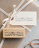Personalized Christmas Gift Tag Stamp - Pine Branches