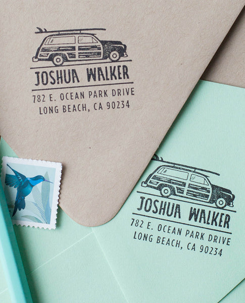 Woodie Wagon & Surf Board Return Address Stamp